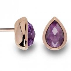 Silver Rose Gold Finish Amethyst Earrings