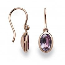 Silver Rose Gold Finish Amethyst Earrings