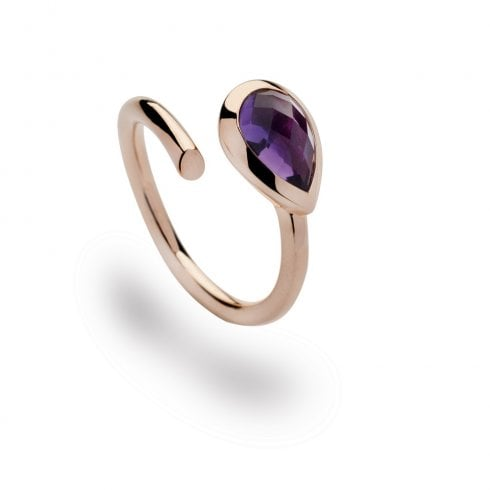 Silver Rose Gold Finish Amethyst Ring