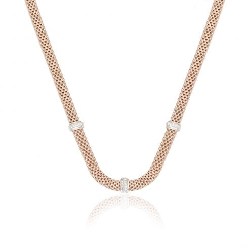 Silver Rose Gold Finish Cubic Zirconia Necklet
