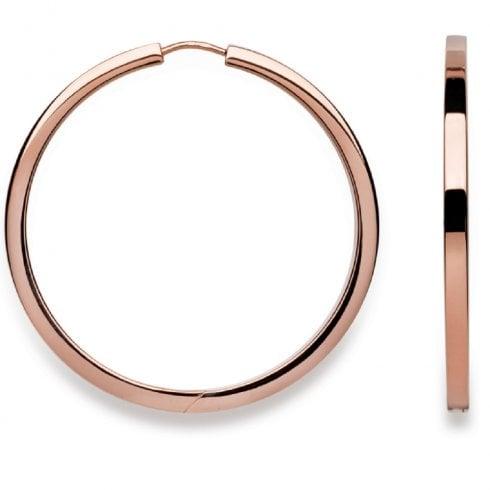 Silver Rose Gold Finish Flat Profile Hoop Earrings