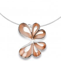 Silver Rose Gold Finish Fold Pendant