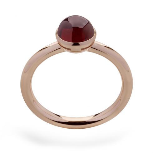 Silver Rose Gold Finish Garnet Ring