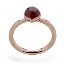Silver Rose Gold Finish Garnet Ring