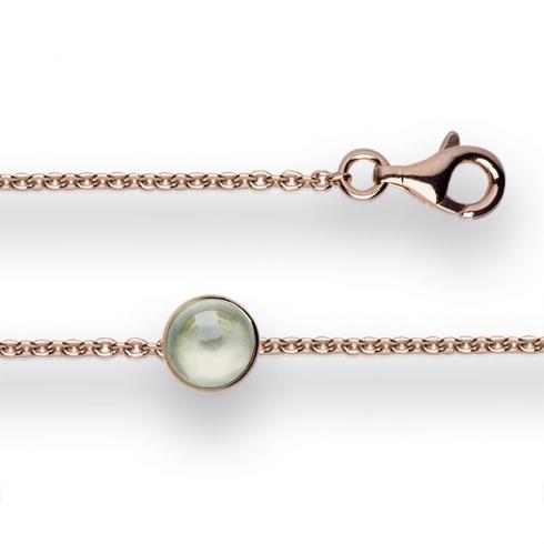 Silver Rose Gold Finish Green Amethyst Bracelet