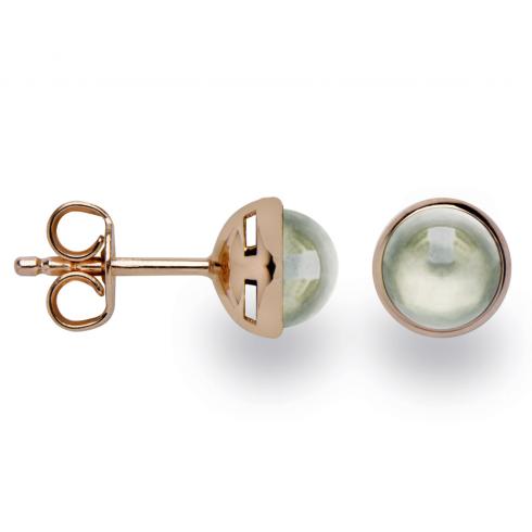 Silver Rose Gold Finish Green Amethyst Earrings
