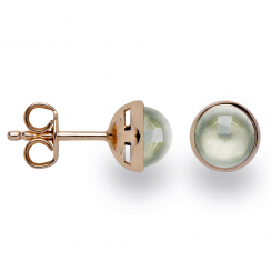 Silver Rose Gold Finish Green Amethyst Earrings