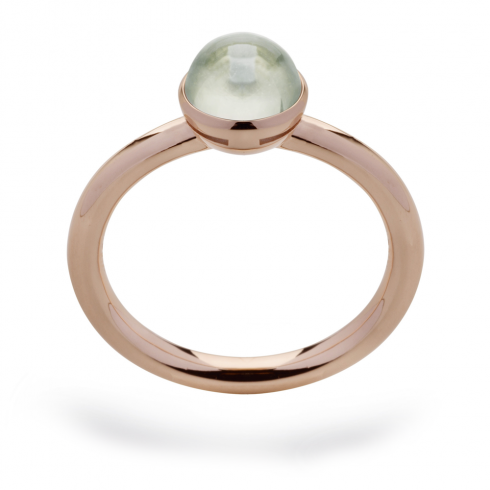 Silver Rose Gold Finish Green Amethyst Ring