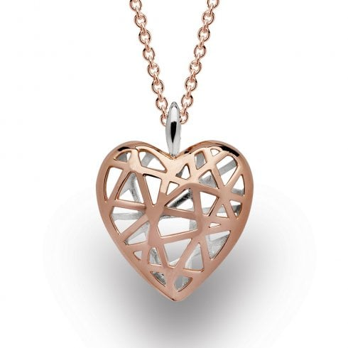 Silver Rose Gold Finish Heart Pendant