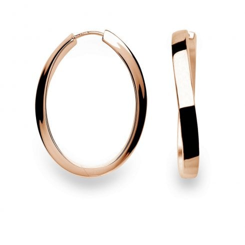 Silver Rose Gold Finish Hoop Earrings