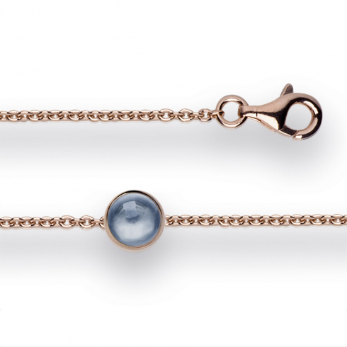 Silver Rose Gold Finish London Blue Topaz Bracelet