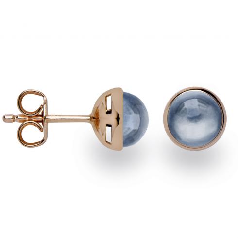 Silver Rose Gold Finish London Blue Topaz Earrings