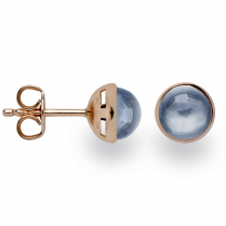 Silver Rose Gold Finish London Blue Topaz Earrings
