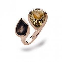 Silver Rose Gold Finish Smoky Quatrz & Citrine Ring