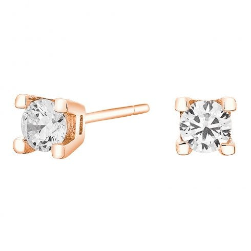 Silver Rose Gold Finish Solitaire Earrings