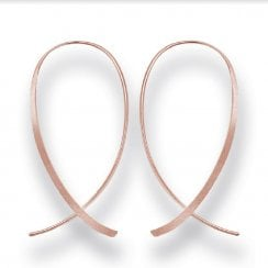 Silver Rose Gold Finish Wire Hoop Drop Earrings