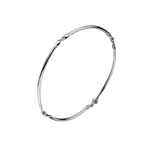 Silver Round Bangle with Twist Detail