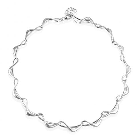 Silver Satin and Polish Link Necklet