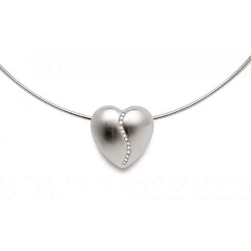 Silver Satin Finish Diamond Heart Pendant