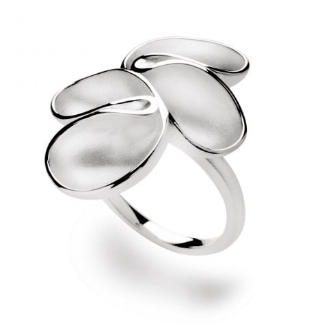Silver Satin Finish Fold Ring