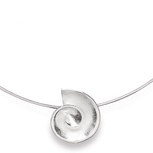 Silver Satin Finish Swirl Pendant & Wire