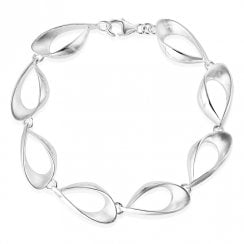 Silver Satin Finish Teardrop Bracelet