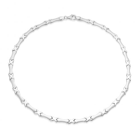 Silver Satin & Polished Kiss Necklet