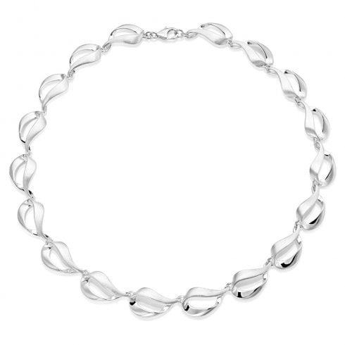 Silver Satin & Polished Open Pear Shaped Link Necklet