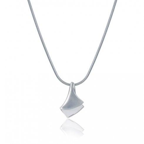 Silver Satin & Polished Overlay Pendant