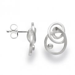 Silver Swirl Diamond Earrings