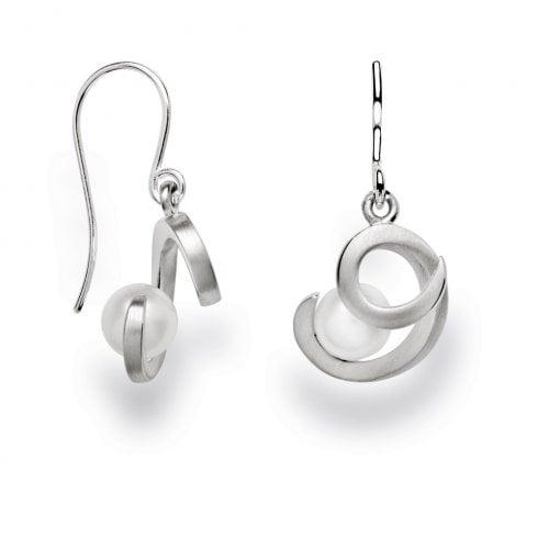 Silver Swirl Pearl Hook Earrings
