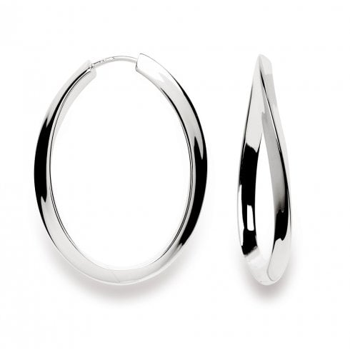 Silver Wave Hoop Earrings