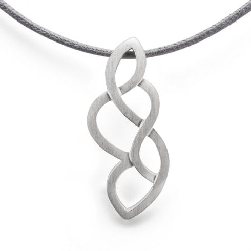 Silver Wave Pendant on Grey Cord