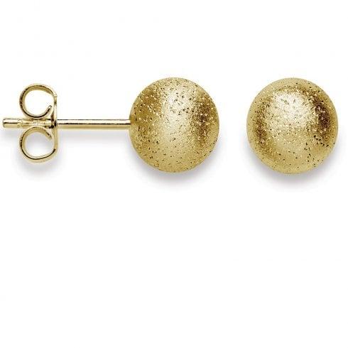 Silver Yellow Gold Finish Diamond Dust Ball Stud Earrings