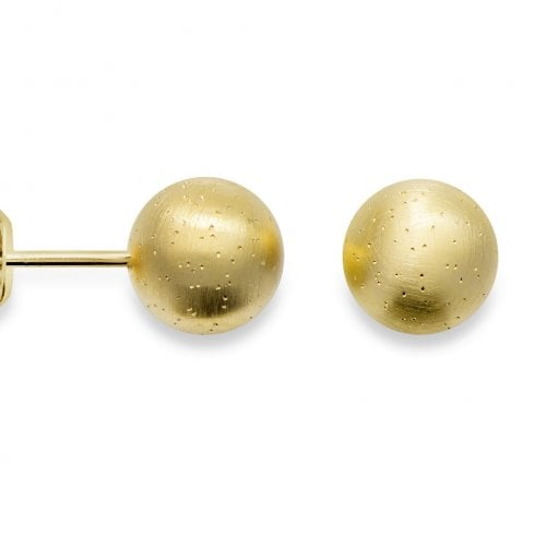 Silver Yellow Gold Finish Diamond Dust Ball Stud Earrings