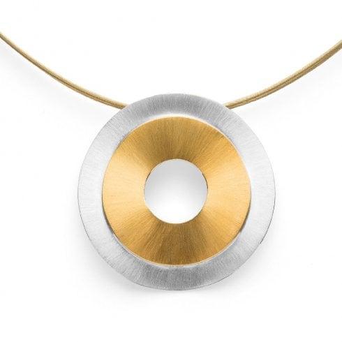 Silver Yellow Gold Finish Double Circle Pendant