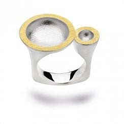Silver Yellow Gold Finish Double Disc Open Dress Ring
