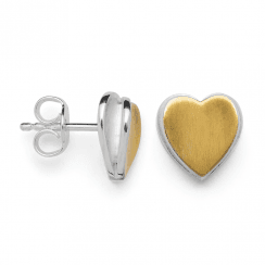 Silver Yellow Gold Finish Heart Earrings