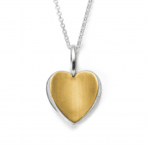 Silver Yellow Gold Finish Heart Pendant