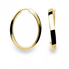 Silver Yellow Gold Finish Hoop Earrings
