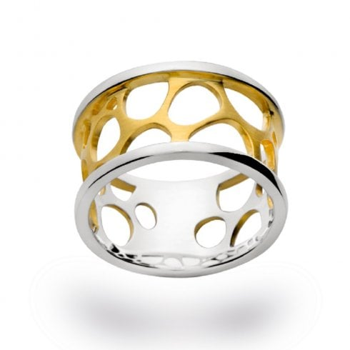 Silver Yellow Gold Finish Pierced Design Ring