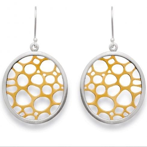 Silver Yellow Gold Finish Pierced Oval Drop Earrings
