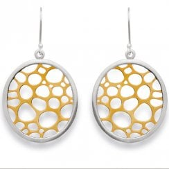 Silver Yellow Gold Finish Pierced Oval Drop Earrings