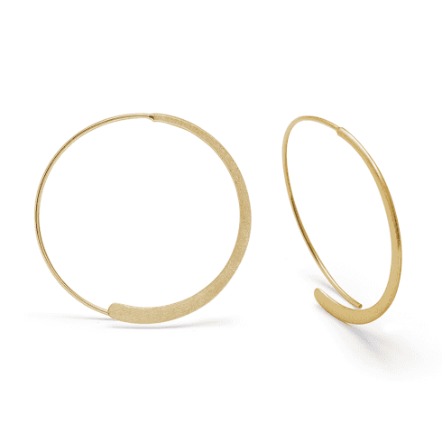 Silver Yellow Gold Finish Round Wire Hoop Earrings