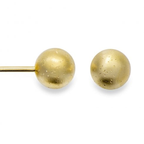 Silver Yellow Gold Finish Small Diamond Dust Ball Stud Earrings