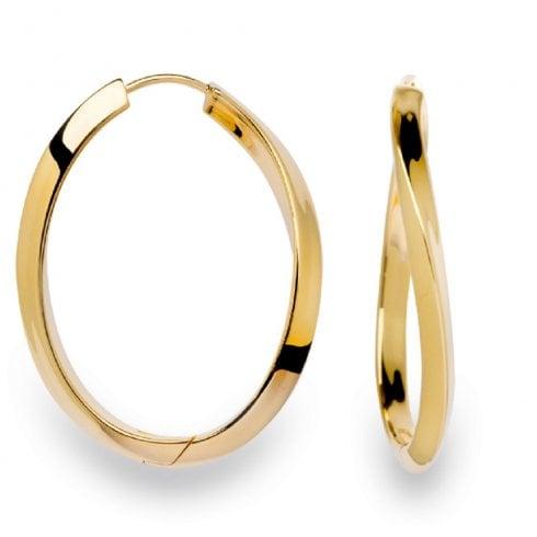 Silver Yellow Gold Finish Twist Oval Hoop Earrings