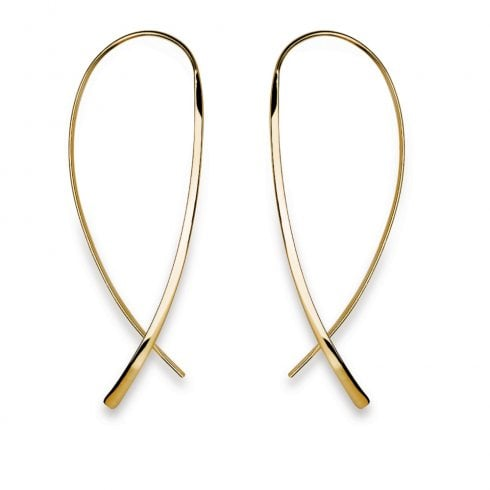 Silver Yellow Gold Finish Wire Hook Earrings