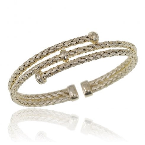 Silver Yellow Gold Finish Woven Triple Row Torque Bangle