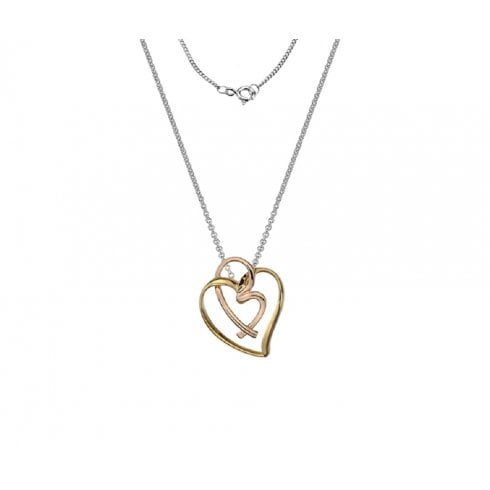 Silver Yellow & Rose Gold Finish Intertwined Heart Pendant