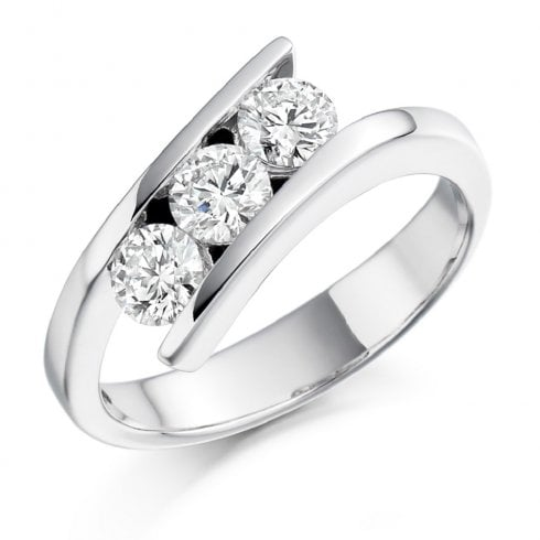 Three Stone Diamond Twist Ring